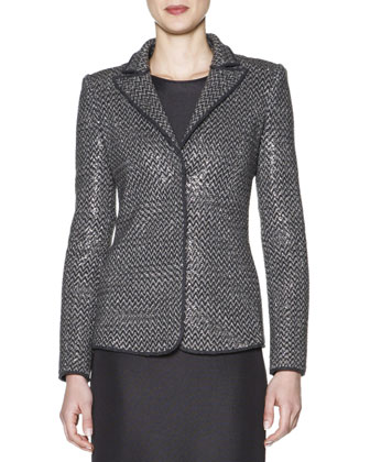 Allover Beaded Chevron Jacket & Long-Sleeve Ottoman-Knit Dress