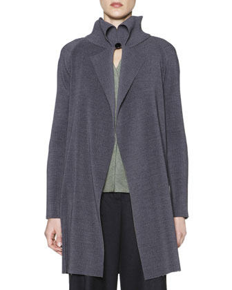 Fold-Collar Long Plisse Jacket