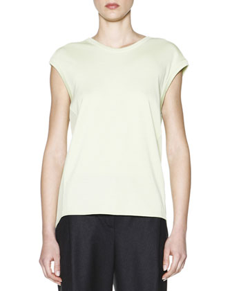 Cashmere Interlock Sheer-Inset Top