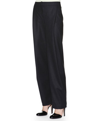 Soft Inverted-Pleat Flannel Pants