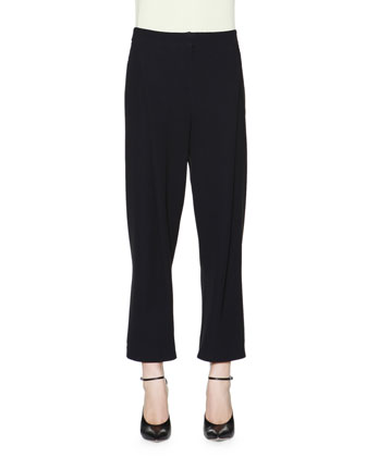Crepe Cady Invert-Pleat Ankle Pants