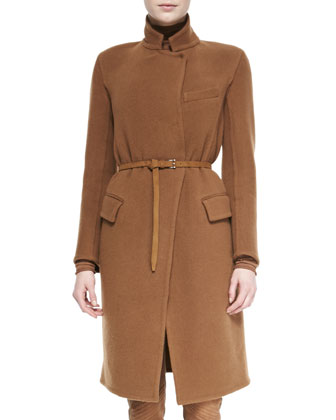 Belted Officer Coat, Turtleneck Top & Suede-Front Combo Pants