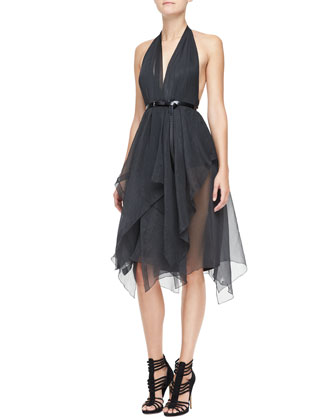 Belted Halter Cocktail Dress, Charcoal