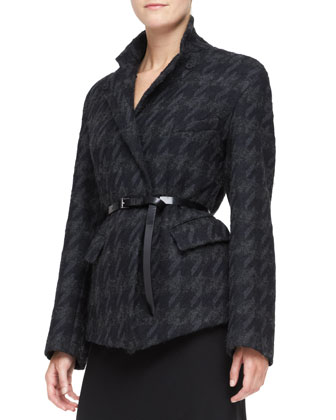 Belted Convertible Jacket & Georgette Layered Bias Skirt