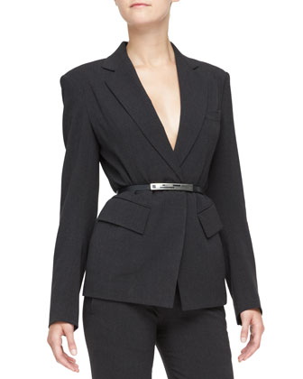 Fitted Blazer, Slim Pants with Satin Hem & Matte Silvertone-Buckled Belt