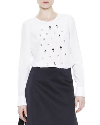 Embellished Silk Blouse, White