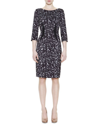 Raindrop-Print Fitted Knit Sheath Dress
