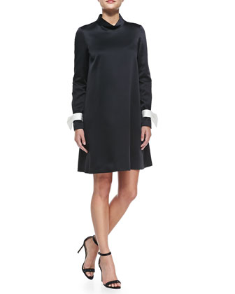 Long-Sleeve Mock-Neck Dress with Detachable Bow Cuffs