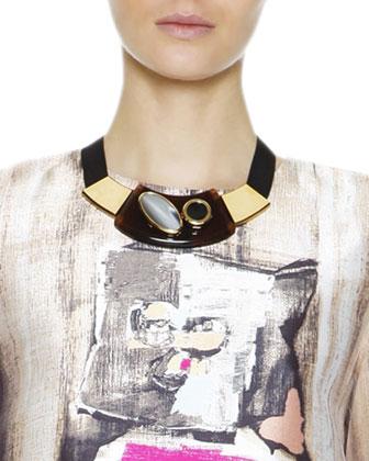 Short-Sleeve Abstract-Print Silk Shift Dress & Mixed Media Collar Necklace