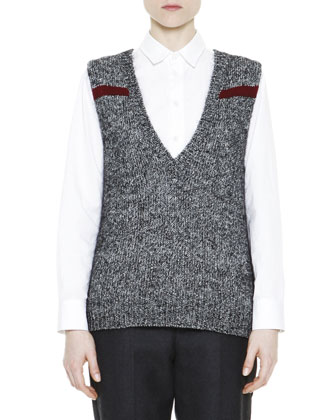 M??lange Feather Jewel-Back Sweater Vest