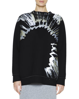 Metallic Splatter-Print Sweatshirt