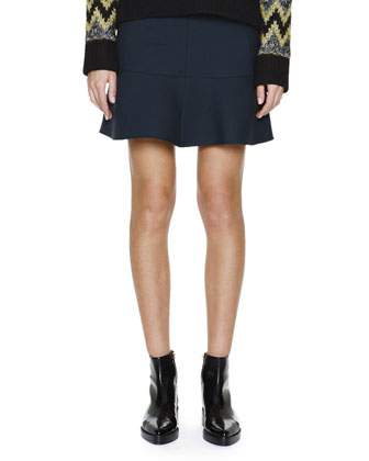 Flounce-Hem Stretch-Wool Skirt