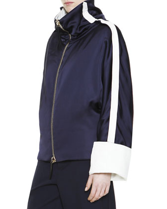 Zip-Front Track Jacket with Racing Striped Sleeves