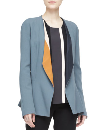 Drape-Lapel Colorblock Blazer & Wool Crepe Pants