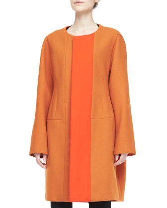 Two-Tone Collarless Coat, Multi Line-Block Top & Wool Crepe Pants