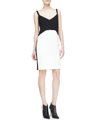 Strapped Colorblock Sheath Dress