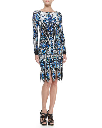 Feather-Print Fringe-Bottom Dress