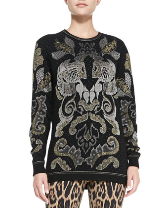 Metallic Baroque Jacquard Sweater