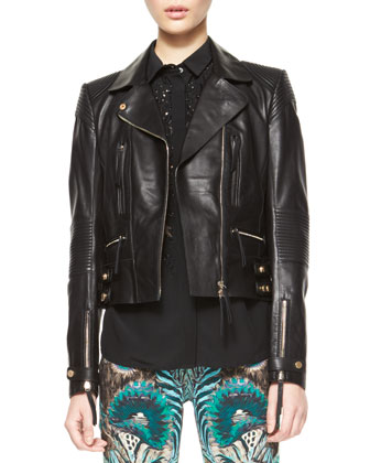 Napa Leather Motorcycle Jacket, Silk Beaded-Inset Blouse & Exotic Floral ...