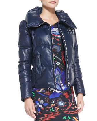 Zip Leather Puffer Jacket & Abstract Floral-Print Boat-Neck Sheath Dress