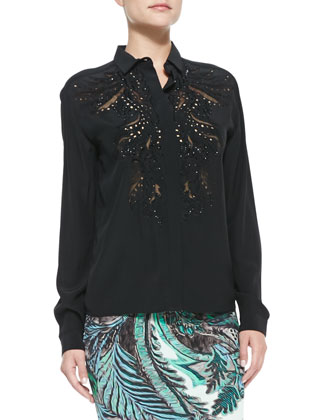 Silk Beaded-Inset Blouse