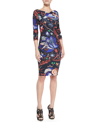 Abstract Floral-Print Boat-Neck Sheath Dress
