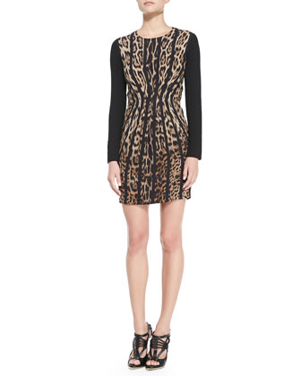 Vertical Leopard-Print Long-Sleeve Dress