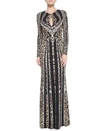 Long-Sleeve Leopard-Stripe Deco Gown