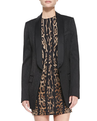 Long Tux-Lapel Blazer & Vertical Leopard-Print Long-Sleeve Dress