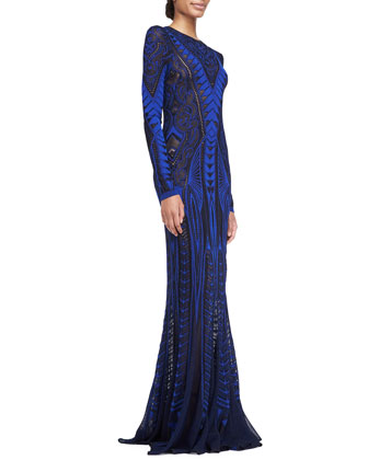 Long-Sleeve Pointelle Knit Gown