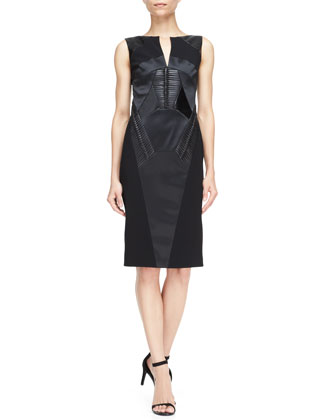 Sleeveless Snake-Paneled Sheath Dress