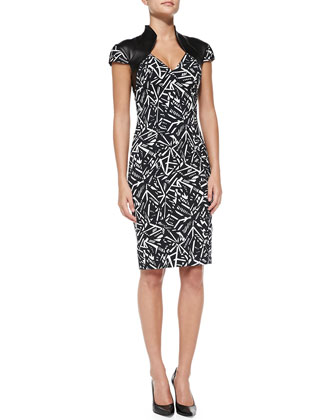 Printed Poplin Sheath Dress with Leather Shoulders