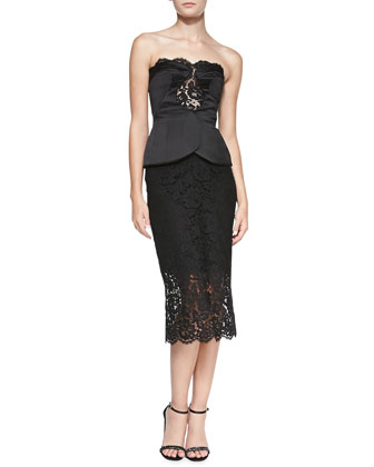 Strapless Lace Dress with Overlap Bustier