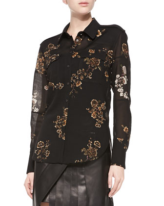 Long-Sleeve Floral Gauze Blouse, Black/Multi