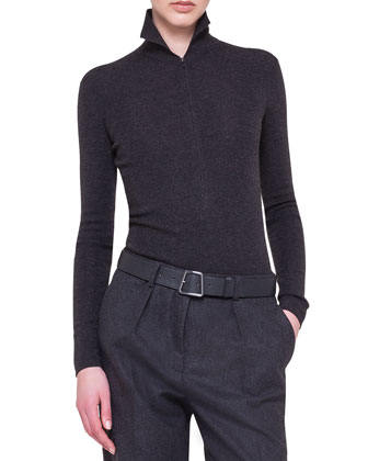 Mock-Neck Zip-Front Top