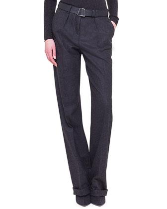 Fabian Flannel Straight-Leg Pants