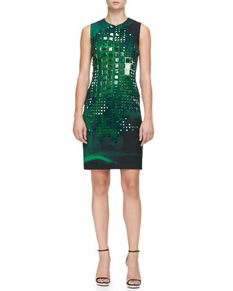 Sleeveless Square-Stone-Embellished Dress
