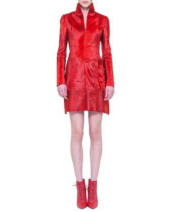 Lamb Fur Stand-Collar Dress