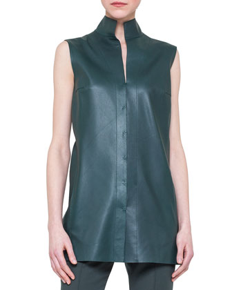 Sleeveless Napa Leather Top
