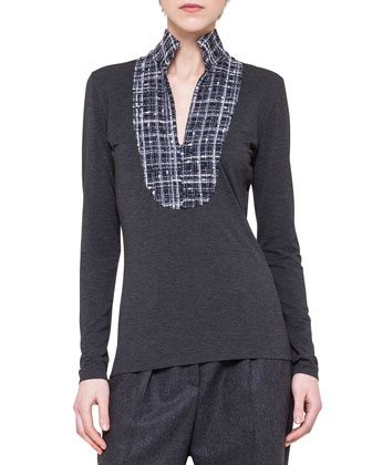 Long-Sleeve Boucle-Inset Top