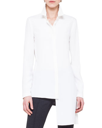 Asymmetric Extended-Hem Jacket, Asymmetric Crepe Blouse & Slim Stretch Wool ...
