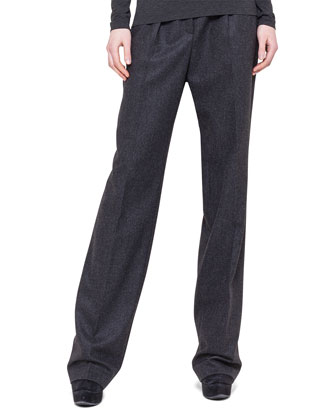 Pleated Straight-Leg Flannel Pants
