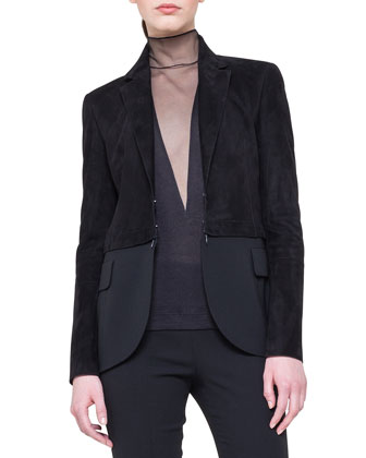 Mock-Neck Tulle-Inset Top and Suede Detachable-Bottom Jacket