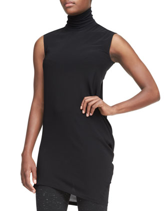 Sleeveless Long Turtleneck Top & Slim Pants with Ankle Vents