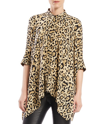 Leopard Print Silk Cape Shirt