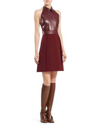 Leather Top A-Line Dress