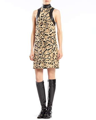 Leopard Print Calf Hair Coat & Silk Sleeveless Dress