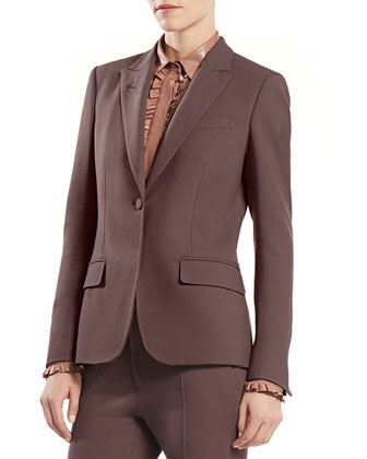 Stretch Wool Single-Button Jacket, Leather Ruffle Button-Down Shirt & ...