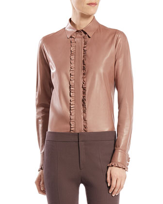 Leather Ruffle Button-Down Shirt