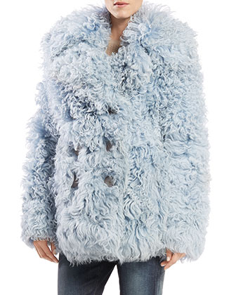 Double-Breasted Shearling Fur Peacoat